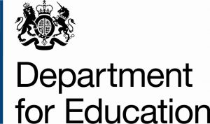 Black logo for the Department for Education depicting the UK government lions