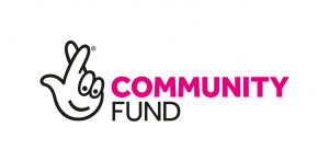 pink white and black logo, with a cartoon hand with a face.