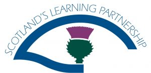 Blue curved logo of Scotland's Learning Partnership wrapped around a green and purple thistle