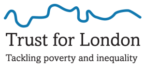 Trust for London logo featuring a blue line following the route of the River Thames