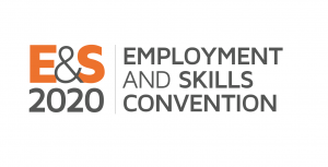 Grey Employment & Skills Convention logo with E&S in bright orange