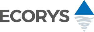 Black Ecorys logo with a bright blue triangle