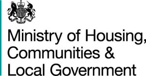 black ministry of housing, communities and local government logo